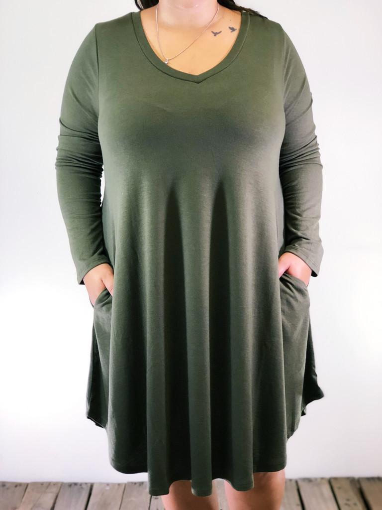 Plus Size Long Sleeve Dress: Olive