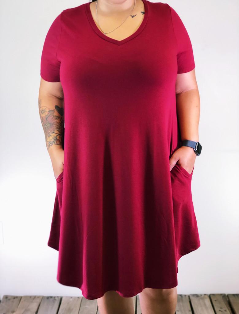 Plus Size Short Sleeve Dress- Burgundy
