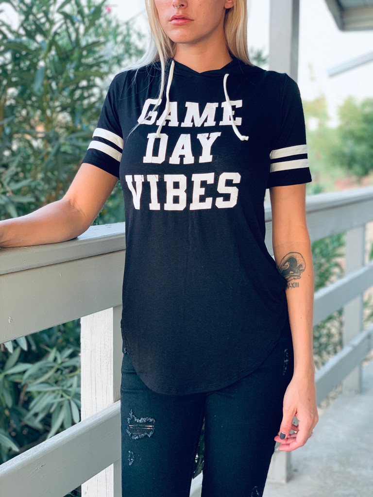 Short Sleeve Top w/ Hood - Game Day Vibes #1 - Black