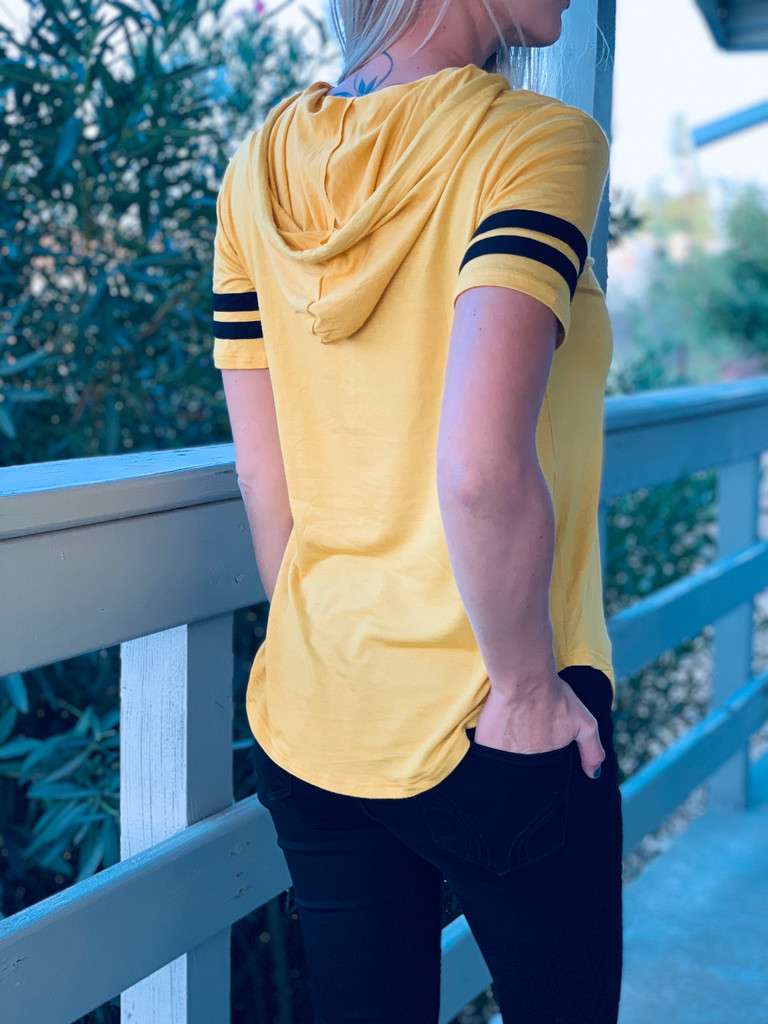 Short Sleeve Top w/ Hood - Game Day Vibes w/ Football - Mustard
