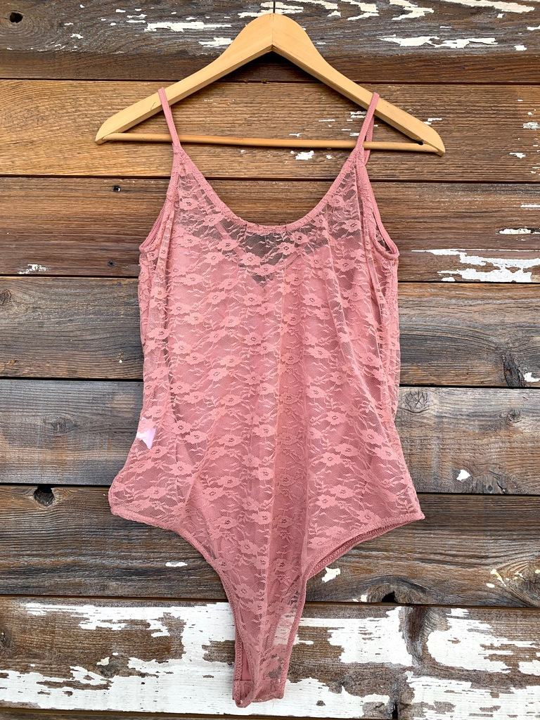 Plus Size Lace Bodysuit- Blush Pink