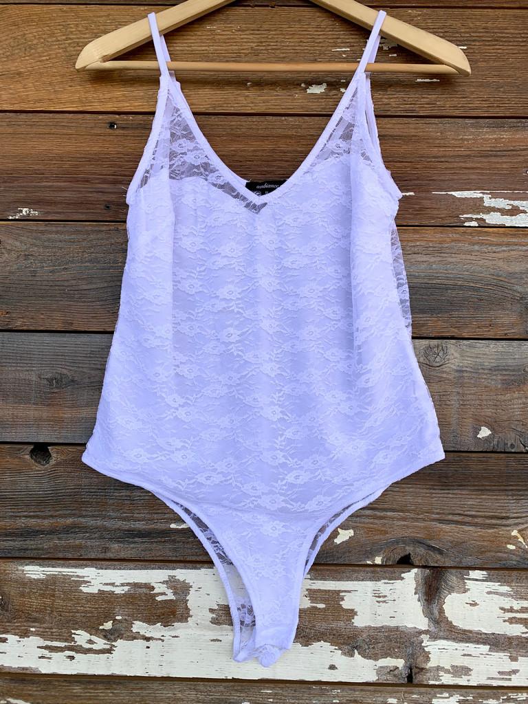Plus Size Lace Bodysuit- Ivory