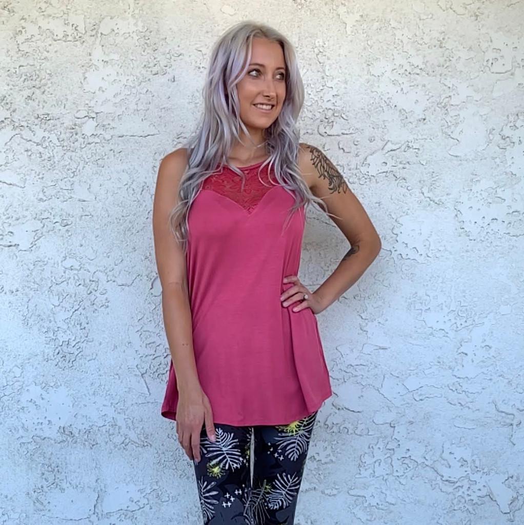 Sleeveless Lace Halter- Rose