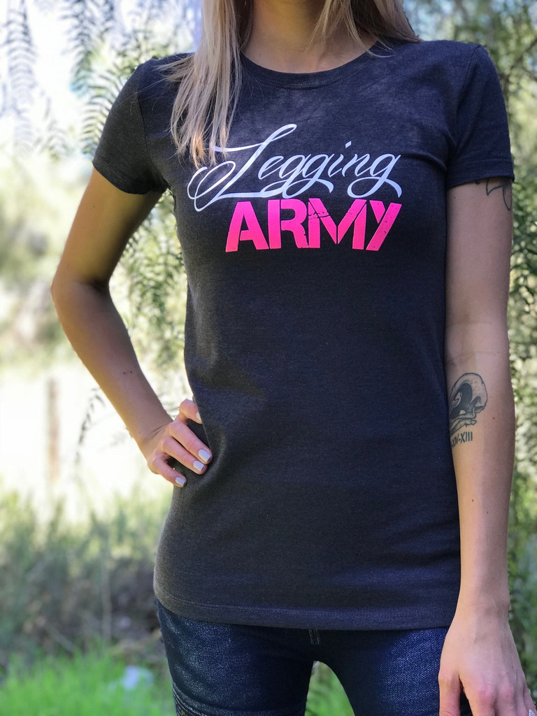Official Legging Army T-Shirt- Spruce- Charcoal Grey