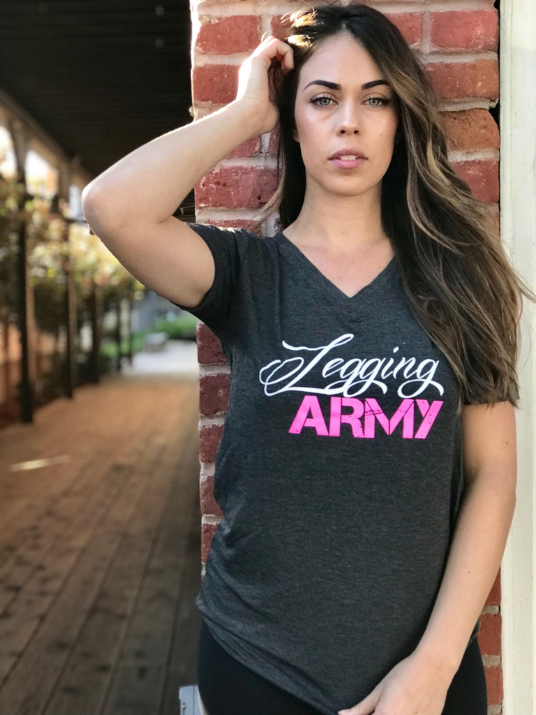 PS Official Legging Army T-Shirt- Birch V-Neck- Charcoal
