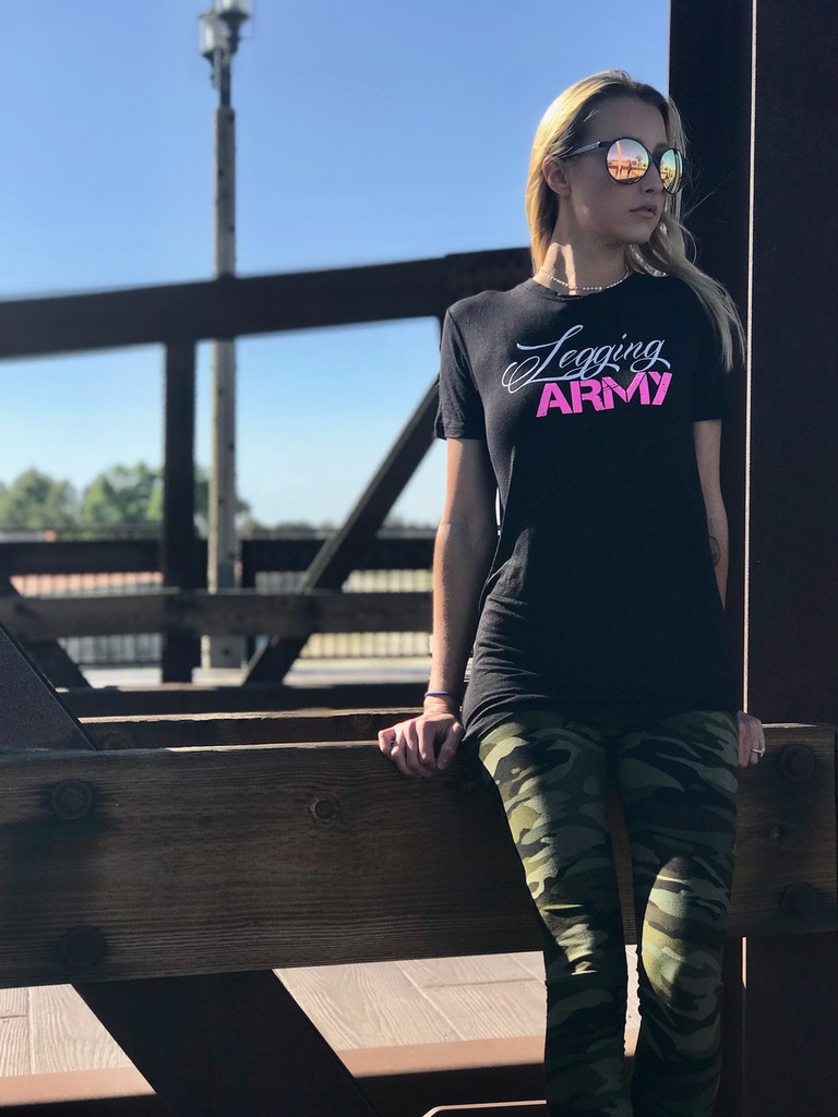 Official Legging Army T-Shirt- Maple- Black