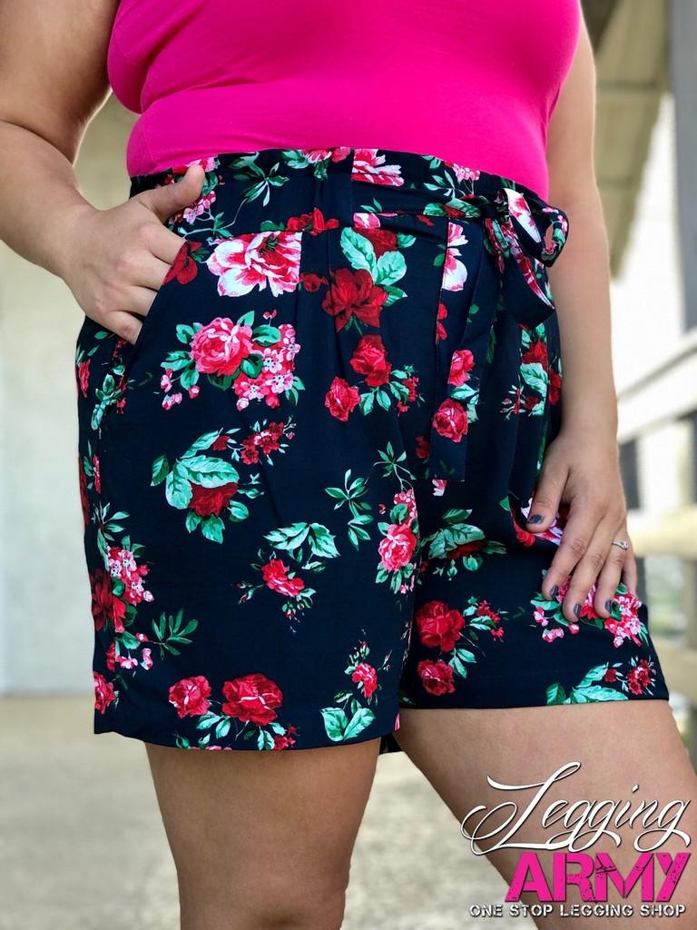 Plus Size Shorts- Midnight Garden