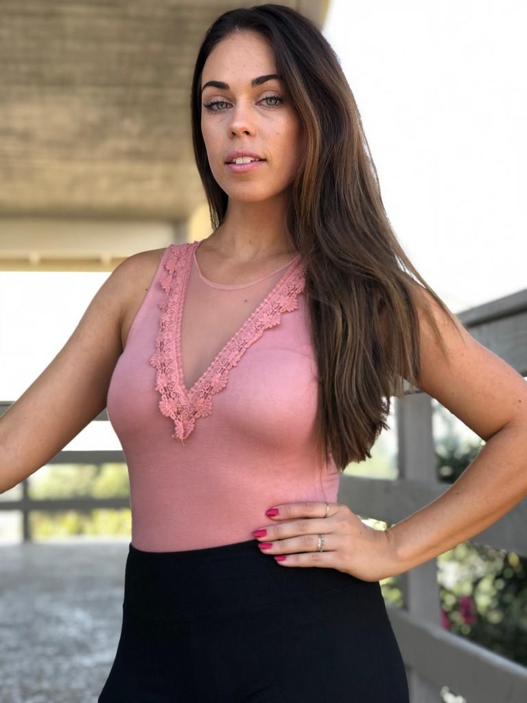 Lace Patch Bodysuit- Blush