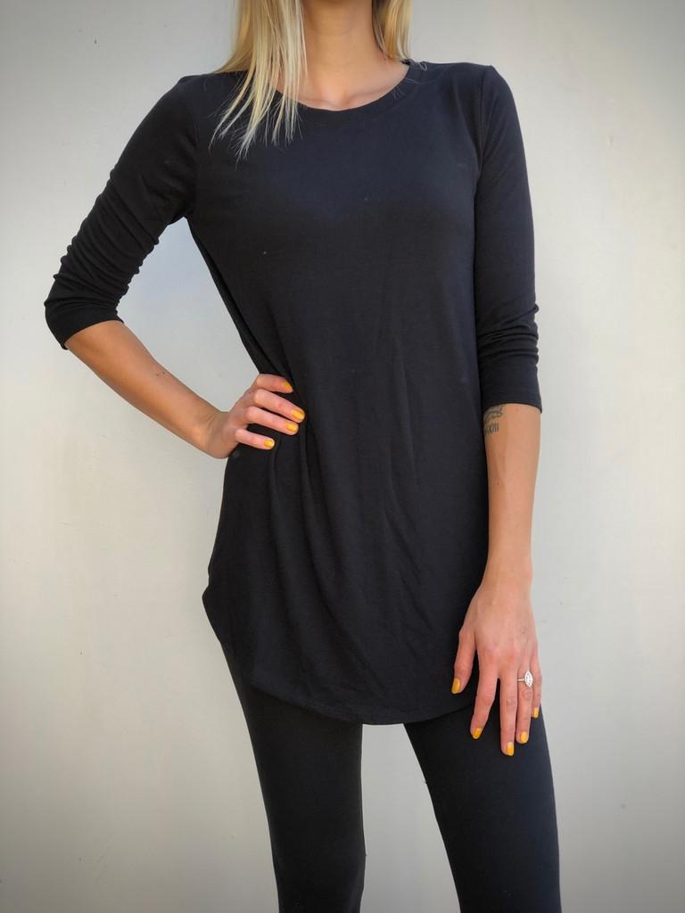 Plus Size 3/4 Sleeve Round Neck- Black