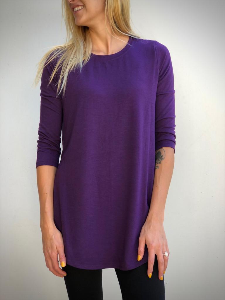 Plus Size 3/4 Sleeve Round Neck- Dark Purple