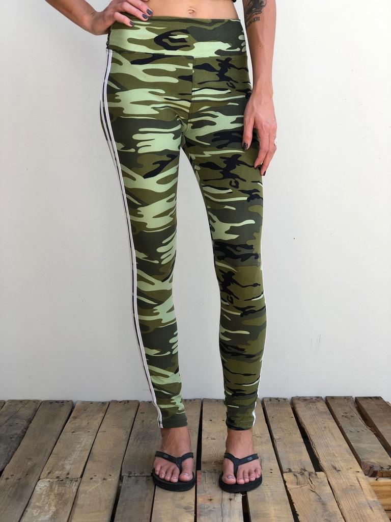 Yoga Waistband- Mean Green Camo With White Stripe