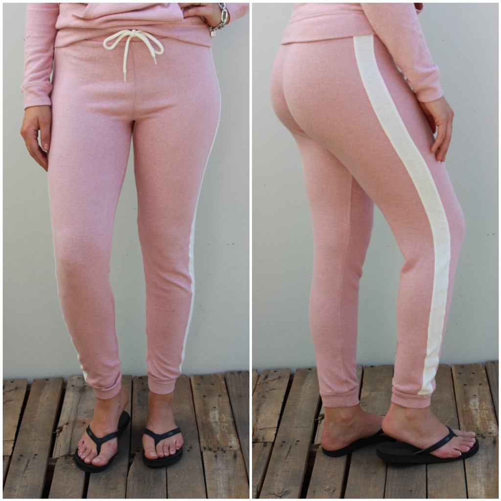 Side Stripe Jogger- Blush