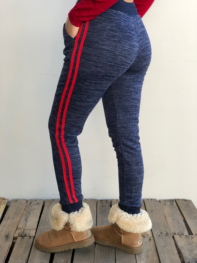 Fleece Jogger- Navy With Red Stripes