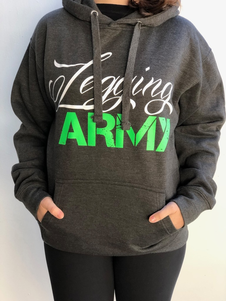 Legging Army Official  Sweatshirt- Charcoal Gray & Green