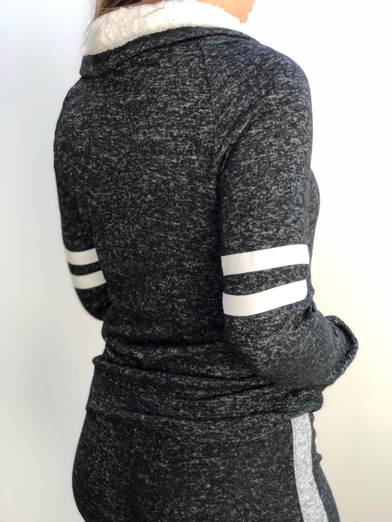 Sherpa Lined Striped Pullover- Black