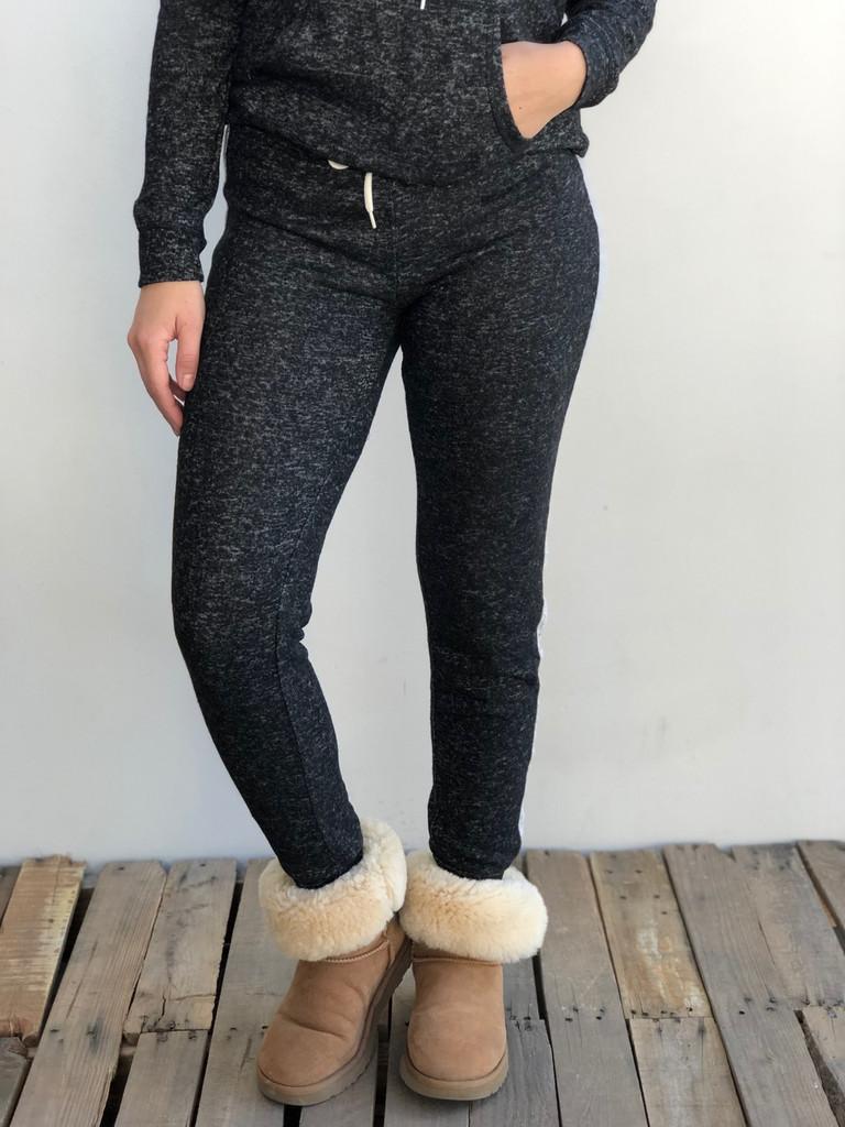 Plus Size Side Stripe Jogger- Black