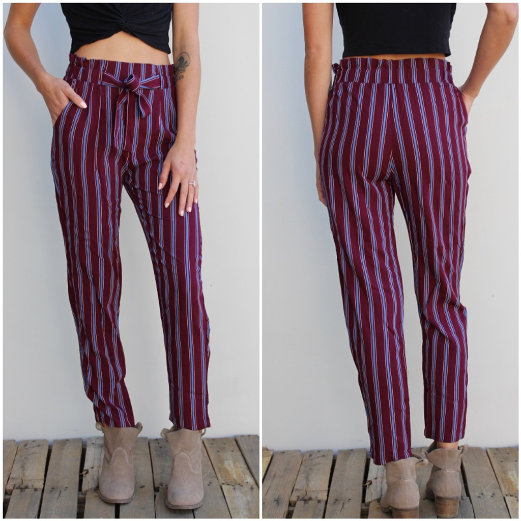 Pants- Burgundy With Blue Stripes