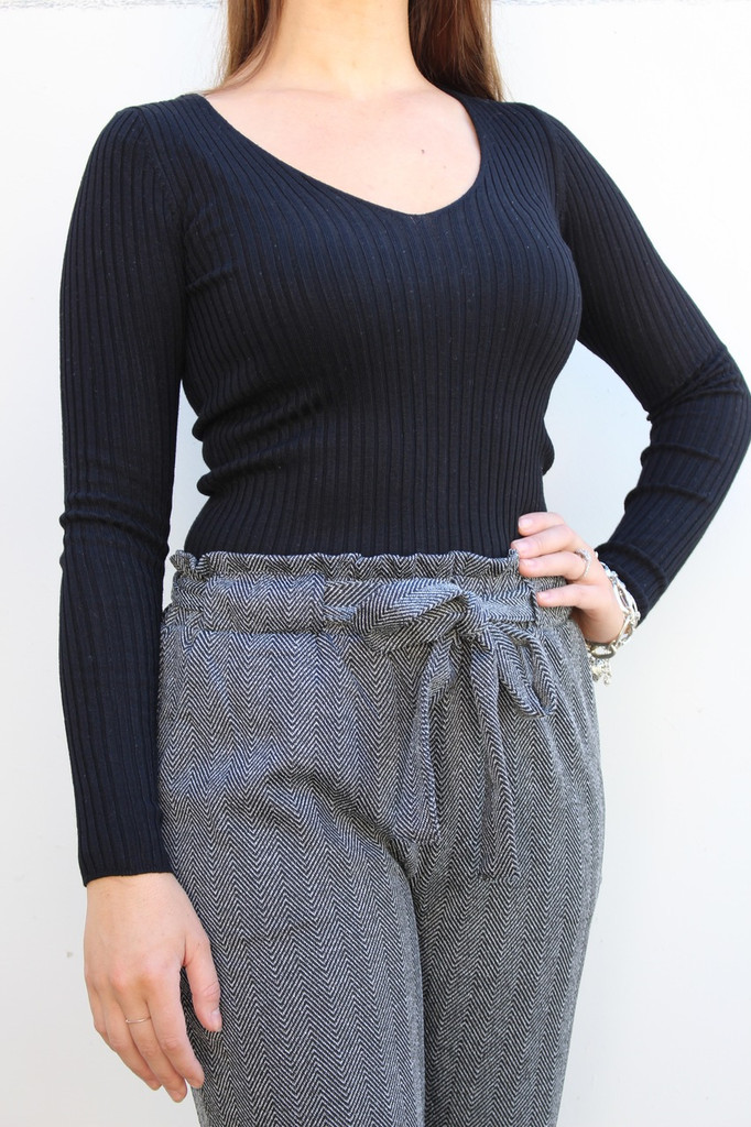V-Neck Sweater- Black
