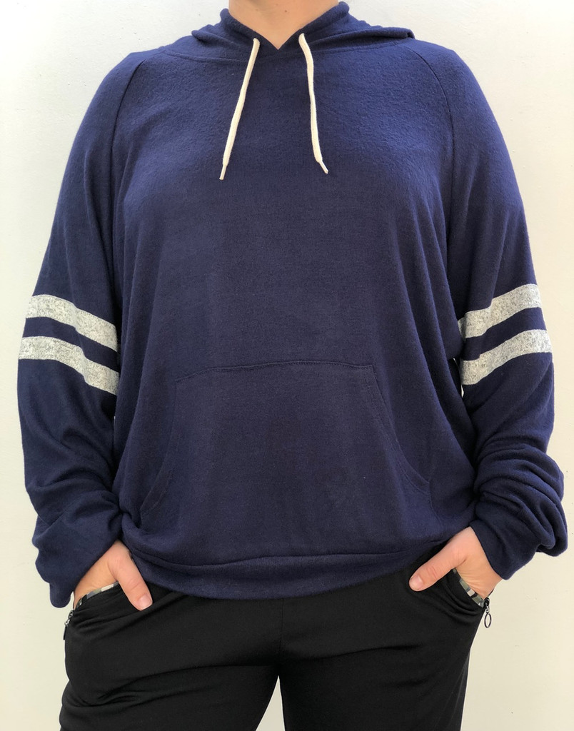 Plus Size Striped Hoodie- Navy