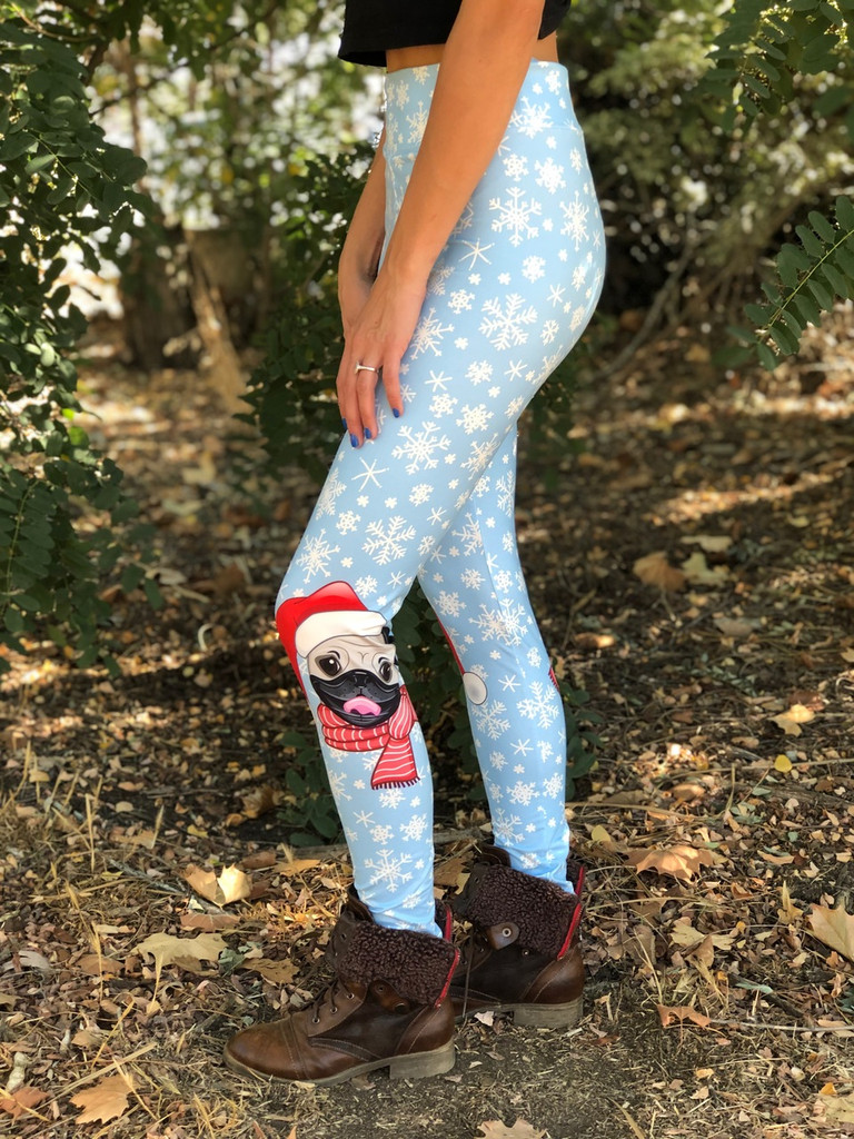 Sublimation Yoga Waistband- Merry Pugmas!