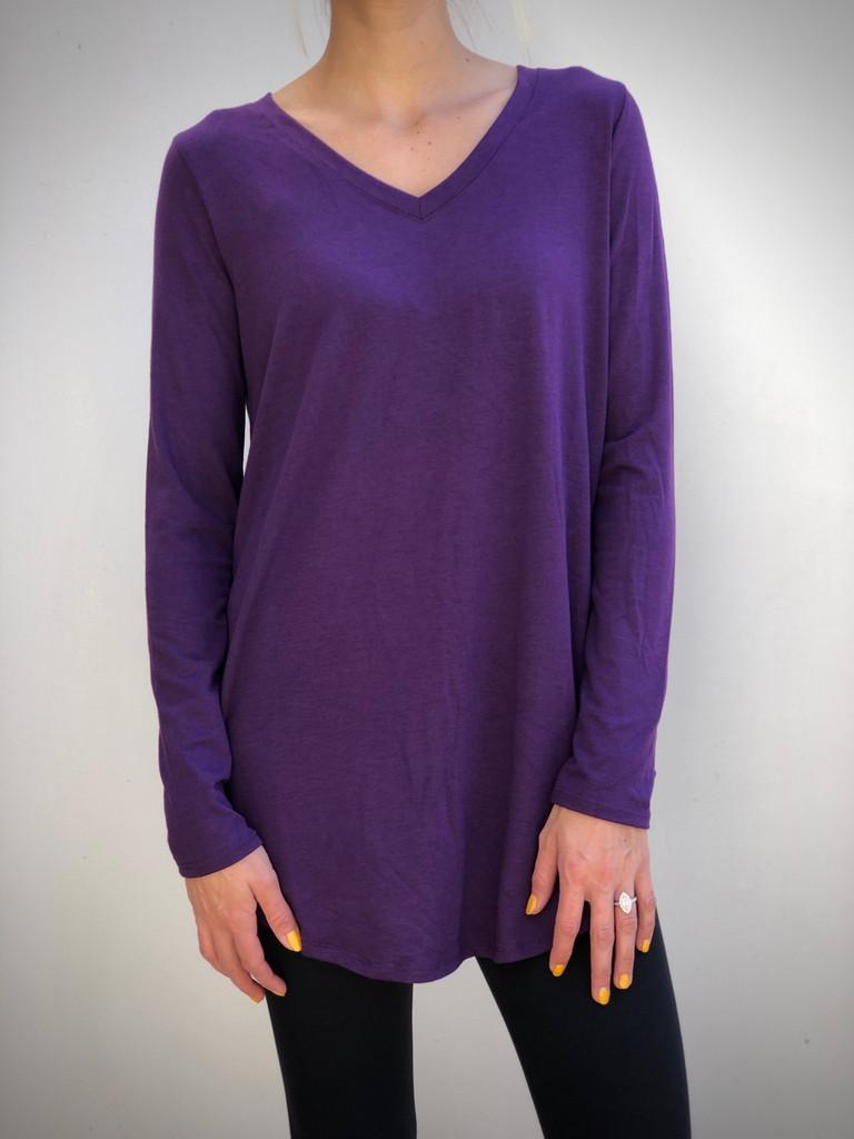 Plus Size Long Sleeve V-Neck- Dark Purple