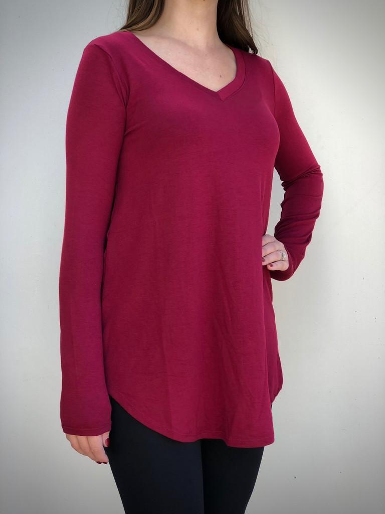 Plus Size Long Sleeve V-Neck- Cabernet
