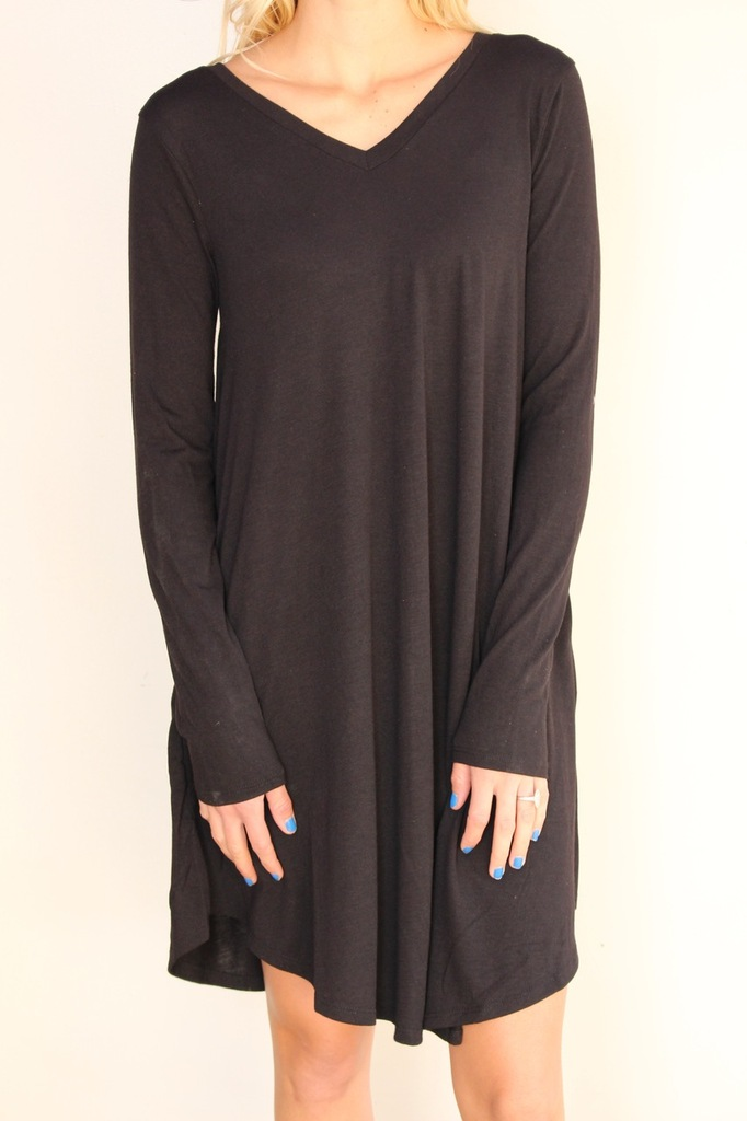 Long Sleeve Dress: Black