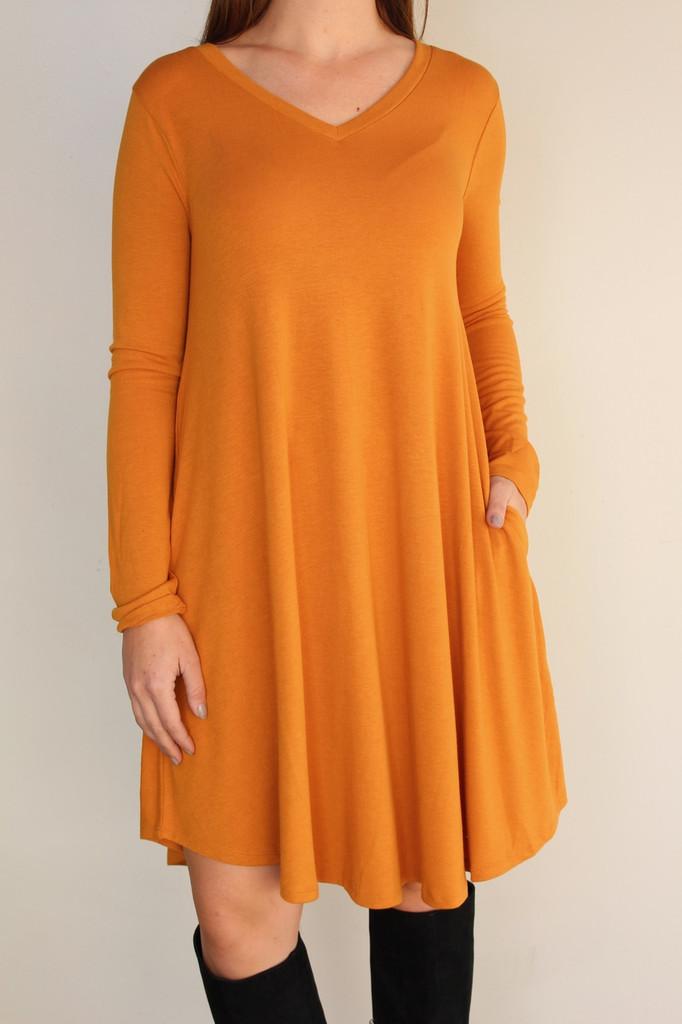 Long Sleeve Dress: Mustard