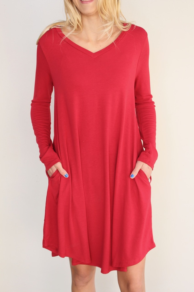 Long Sleeve Dress: Ruby