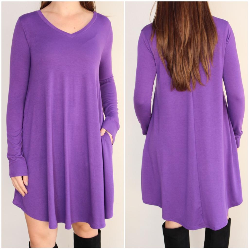 Long Sleeve Dress: Purple