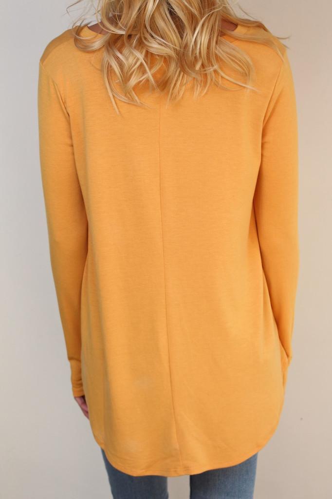 Long Sleeve V-Neck- Ash Mustard