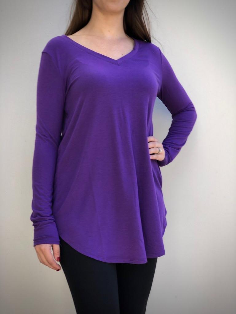 Plus Size Long Sleeve V-Neck- Purple