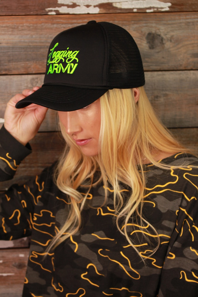 Official Legging Army Trucker Hat- Black And Green