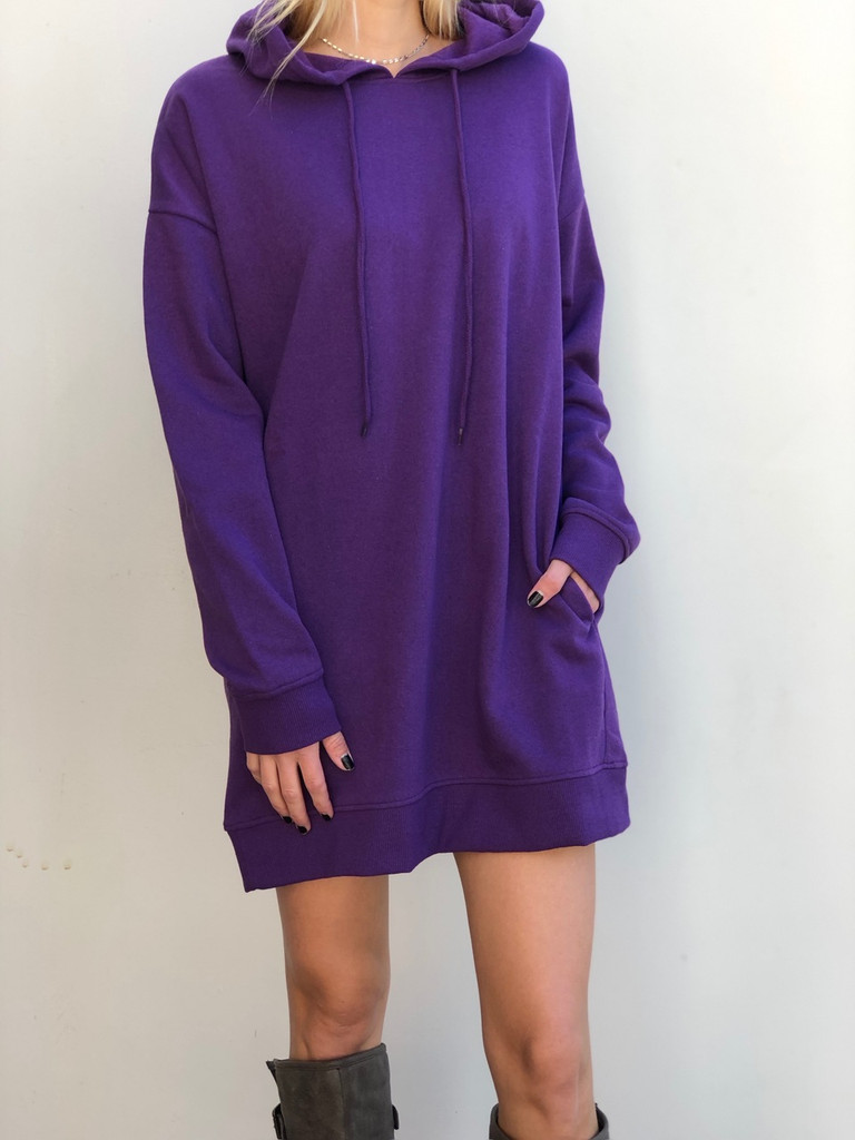Hooded Long Sleeve Sweater- Purple