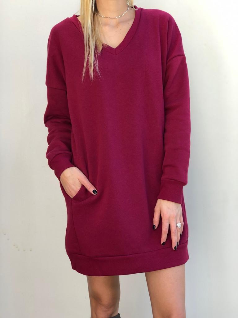 Plus Size Long Sleeve Sweater- Cabernet