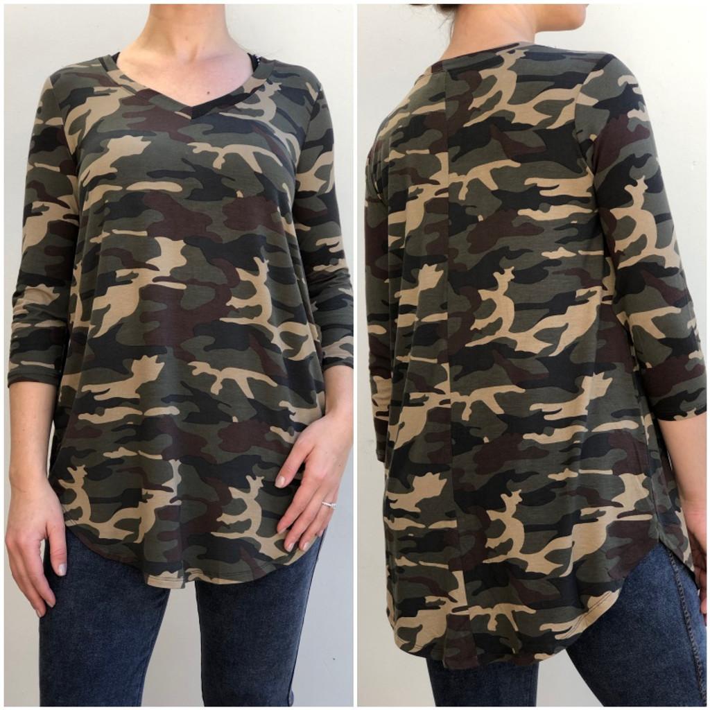 3/4 Sleeve V-Neck- Dark Camouflage
