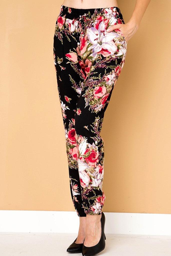 Plus Size Print Jogger- Elegance