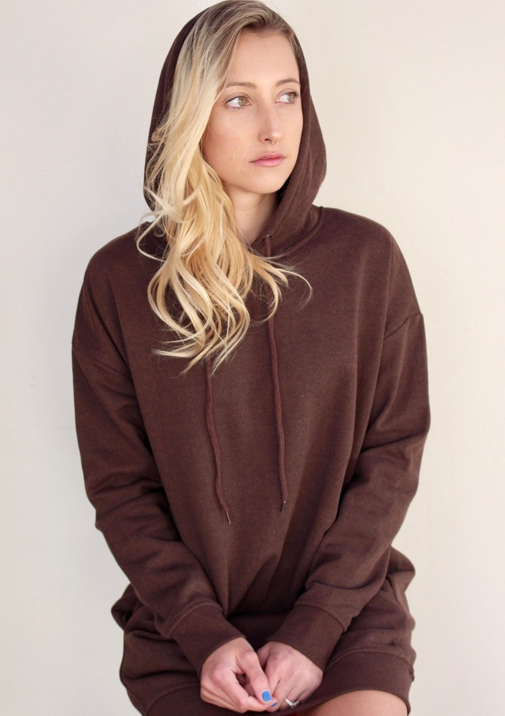 1c0f11c78c1 Plus Size Hooded Long Sleeve Sweater- Brown - Legging Army
