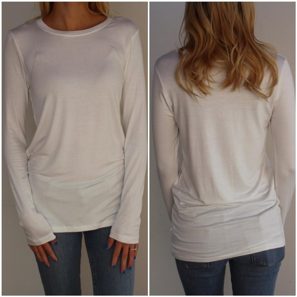 Plus Size Long Sleeve Round Neck- Ivory