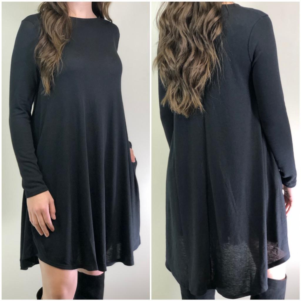 Long Sleeve Sweater Dress: Black