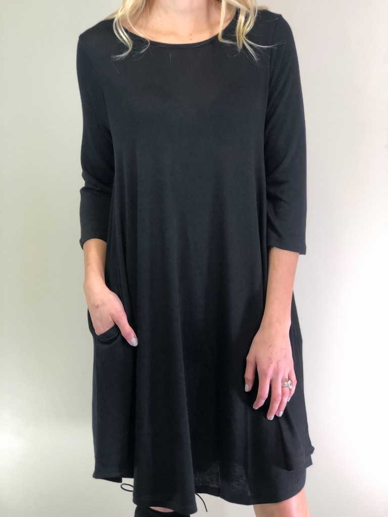 3/4 Sleeve Sweater Dress: Black