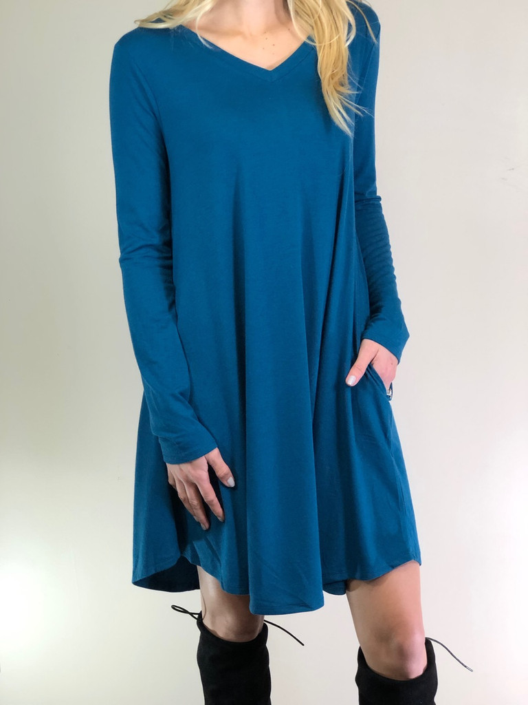 Long Sleeve Dress: Teal