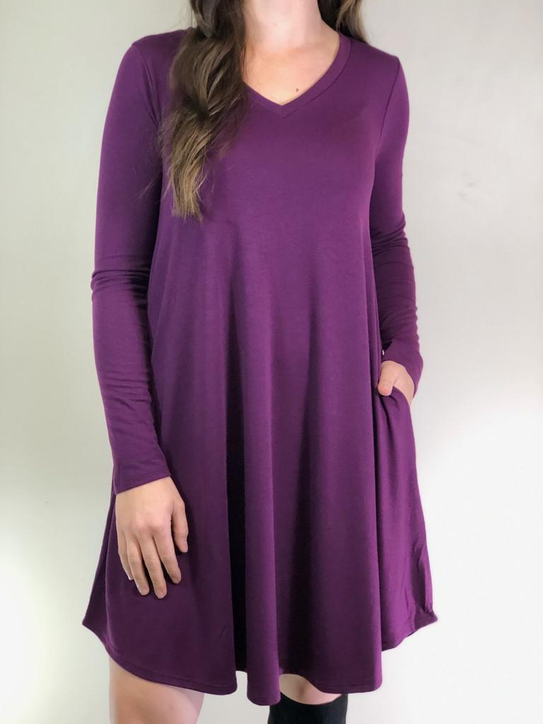 Plus Size Long Sleeve Dress: Dark Plum
