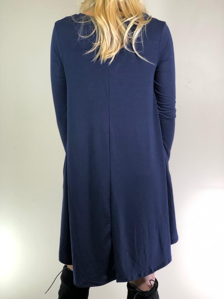 Plus Size Long Sleeve Dress: Navy