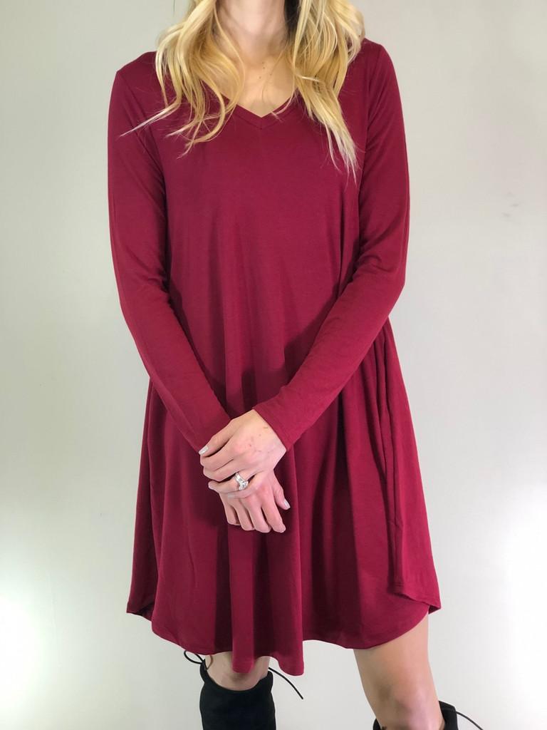 Plus Size Long Sleeve Dress: Cabernet