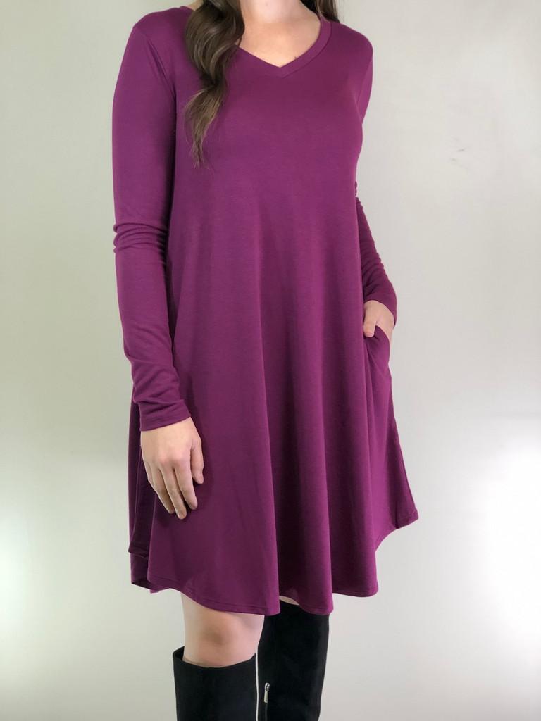 Plus Size Long Sleeve Dress: Plum