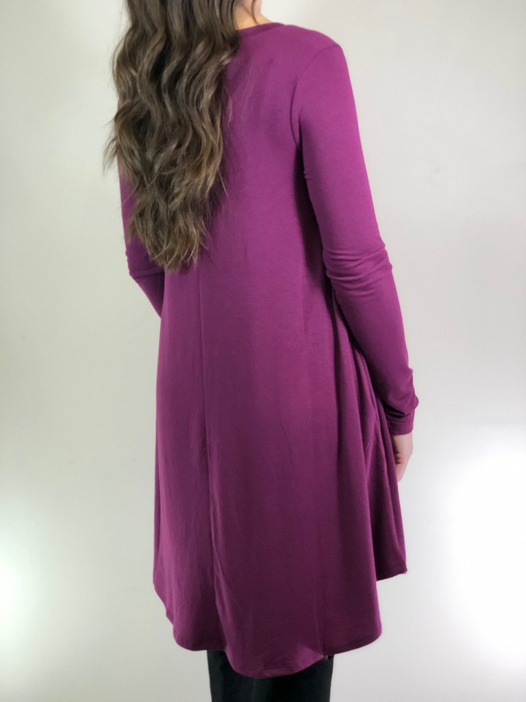 Plus Size Long Sleeve Dress: Plum