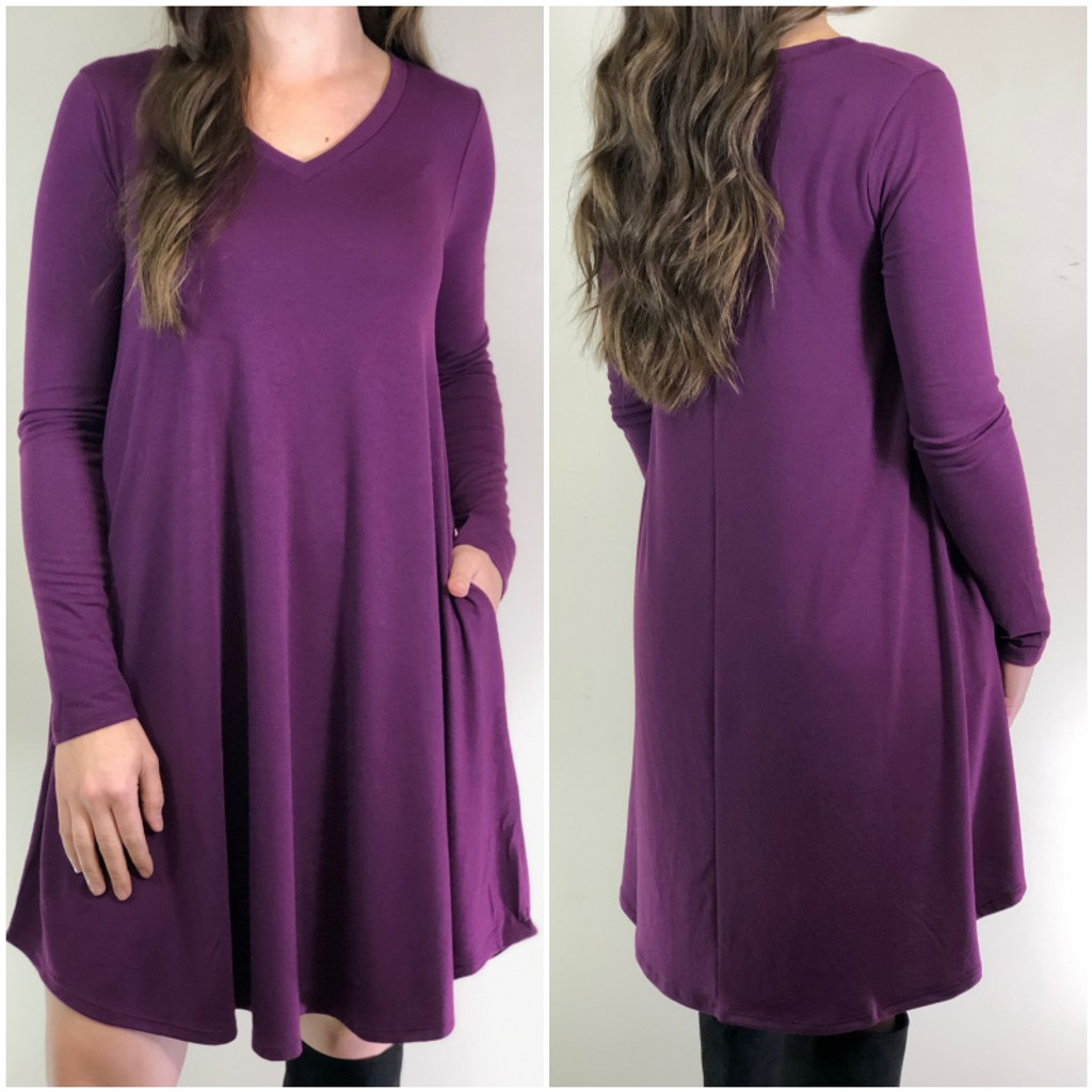 Long Sleeve Dress: Dark Plum