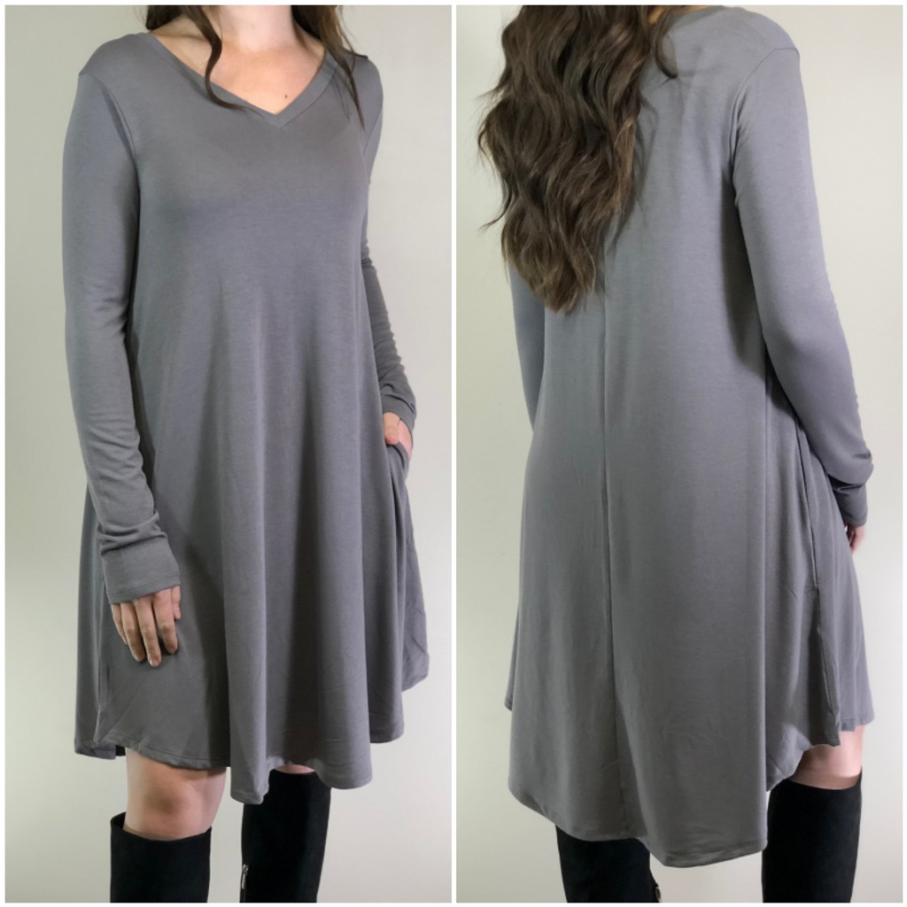 Plus Size Long Sleeve Dress: Grey