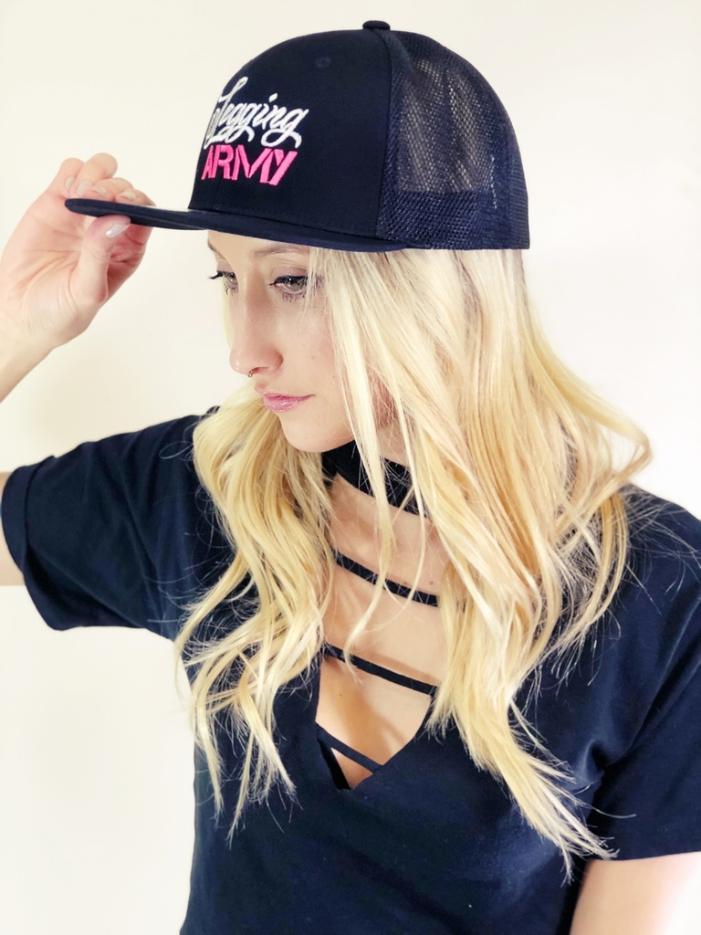 Official Legging Army Hat- Flat Bill With Mesh- Pink And White